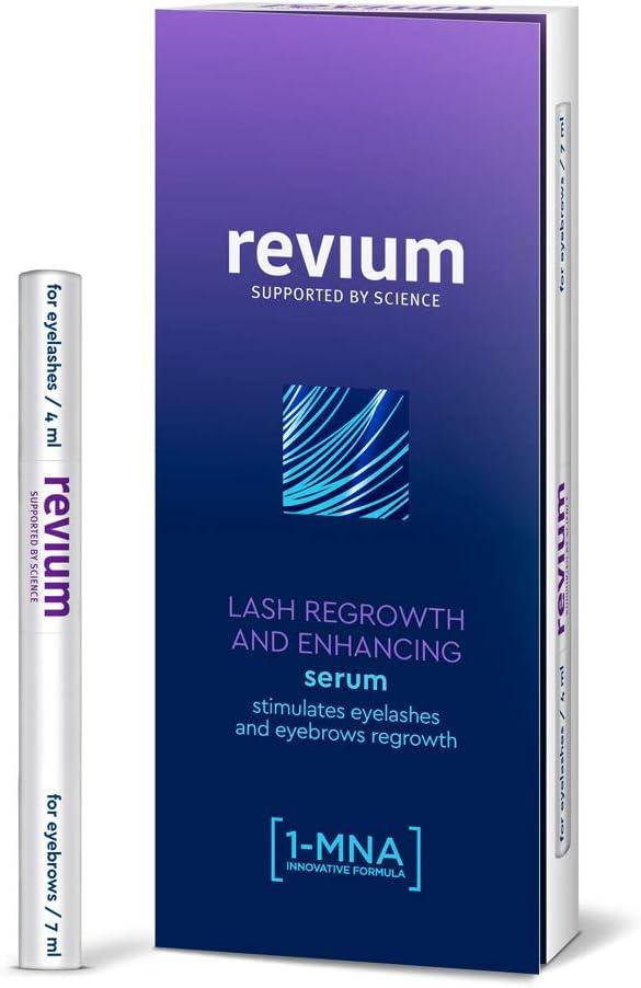 Revium - Superacondicionador para el crecimiento de las pestañas y las cejas poco pobladas, con 1-metilnicotinamida, biotinil-GHK, pro-vitamina B5, 11 ml