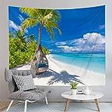 KHKJ Tapiz de Paisaje romántico Paño para Colgar en la Pared Alfombra de poliéster Alfombra de Playa Tapices de Gran tamaño para la decoración del hogar A1 150x130cm