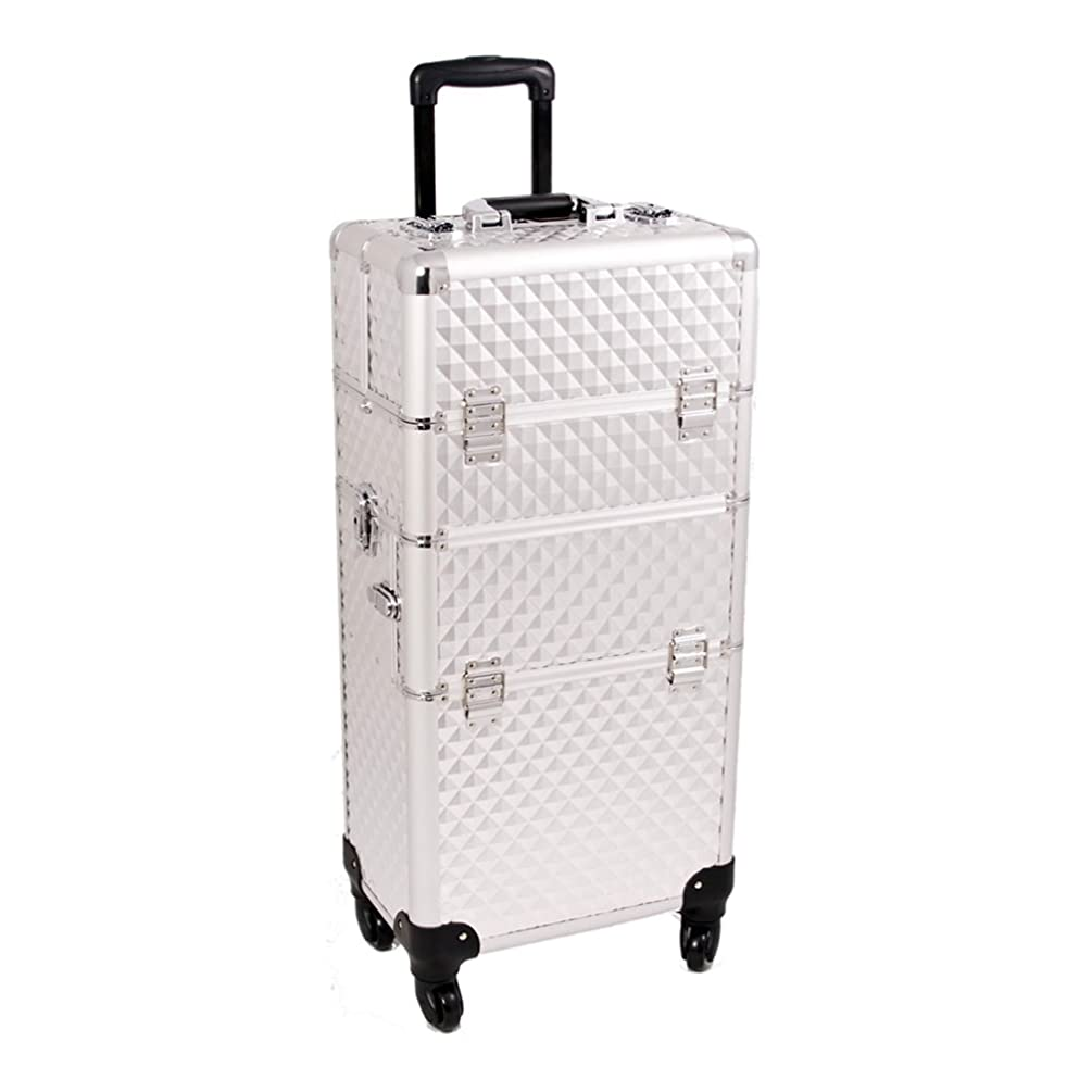 Craft Accents I3461 Diamond Trolley Craft/Quilting Storage Case, Silver