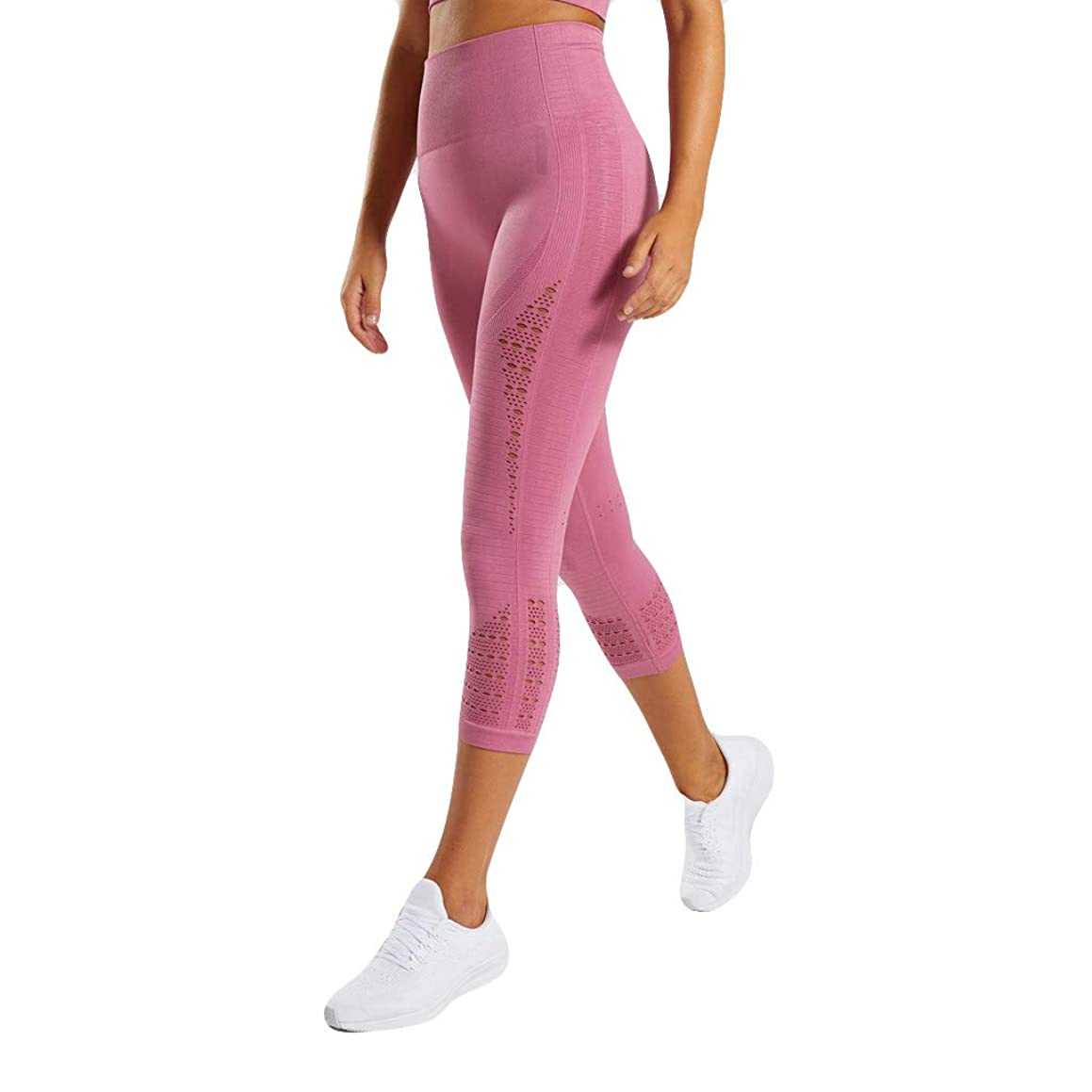 JOFOW Capri Leggings for Women Solid Hollow Breathable Stretch Crop Trousers