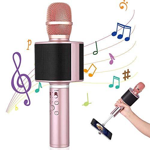Microfono Bluetooth Karaoke, Mbuynow TWS Microfono Wireless, Bastone Selfie per Supporta Smartphone, Doppio Altoparlante, Cantare Insieme con gli Amici in Macchina, Casa, Campeggio, Festa (Rosso)