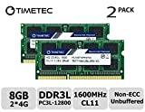 Timetec Hynix IC 8GB Kit (2x4GB) DDR3L 1600MHz PC3-12800 Unbuffered Non-ECC 1.35V CL11 1Rx8 Single Rank 204 Pin SODIMM Portatil Memoria Principal Module Upgrade (8GB Kit (2x4GB))