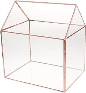 HOMYL Rustic Glass House Terrarium Geometric Succulent Planter Wedding Decorative Card Box Candle Holder - Bronze, 15.5x11...