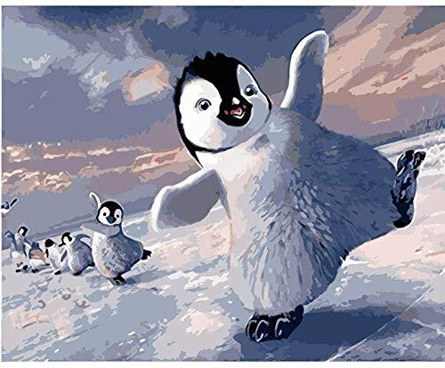 LSDEERE Malen Nach Zahlen 40X50Cm/15.80X 19.70 Zoll Niedlicher Pinguin DIY Ölgemälde Leinwand Gemälde Geschenk Für Erwachsene Kinder Acrylfarben Malen Nach Zahlen Kits Home Haus Dekor(Ohne Rahmen)