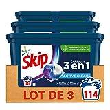 Skip Ultimate Lessive Capsules Trio Active Clean x114, Capsules 3en1 Méga Pack, Efficacité, Soin des Fibres et Fraîcheur Longue Durée 114 Lavages (Lot de 3x38 Capsules)