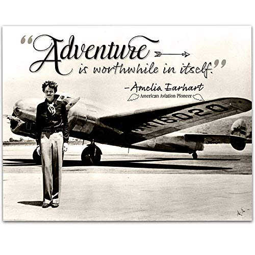 Amelia Earhart - Adventure - 11x14 Unframed Art Print - Great Gift Under $15 for Aviation Enthusiasts