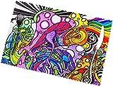 Juego de 6 manteles Individuales para Mesa de Comedor, Setas de fusión, manteles Individuales Lavables de Color para Mesa de Cocina, 12 x 18 Pulgadas