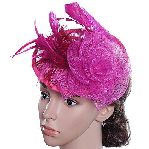 Heqianqian Chapeau Fascinant Chapeau de Jour pour Femme Maille Cheveux Fascinator Bandeau Mariage Royal Ascot Race Pince à Cheveux de Mariée (Color : Rose Red)