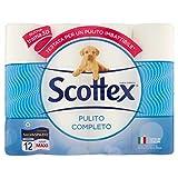 Scottex Carta Igienica Pulito Completo Salvaspazio, Confezione da 12 Rotoli Maxi