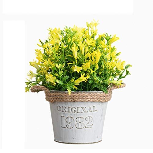LXLTL Künstliche Pflanzen im Topf Gefälschte Daisy mit Eisen Eimer Pot Künstliche Blumen Gerbera Topfpflanzen Bonsai Kunstblumen,Gelb,20x25cm