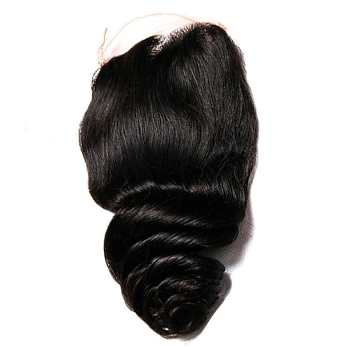 内なるダイヤルキリストYrattary 女性のルースウェーブヘアエクステンションブラジルの人間の髪織りレースの閉鎖4 x 4自由な部分の髪の女性のかつらレースのかつらロールプレイングかつら (色 : 黒, サイズ : 8 inch)