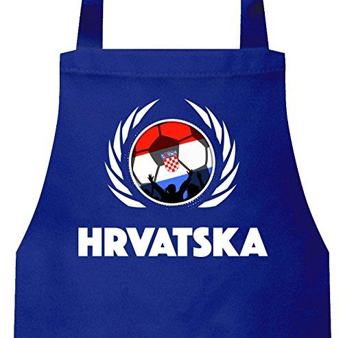 ShirtStreet Hrvatska Croatia Wappen Fussball WM Fanfest Grill Baumwoll Schürze Kochschürze Fußball Kroatien, Größe: onesize,Royal Blau