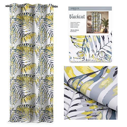 AmeliaHome Blackout Cortina 140 x 245 cm, opaca, decorativa, diseño de palmeras, color amarillo
