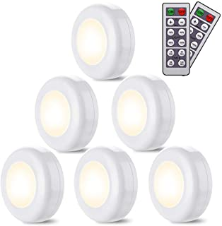 Lampe de Placard/Armoire, 6 Pack Lampe Led Sans Fil Blanc Chaud 4000k Dimmable Veilleuse LED A Pile avec Tactile et Téléco...