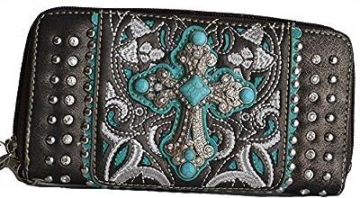 Western Rhinestone Cross Turquoise Cowgirl Clutch Wallet Purse (Pewter)