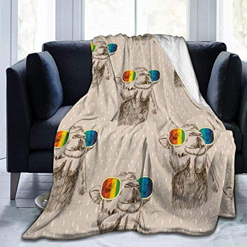 MODORSAN Retro Llama Glasses Throw Blanket Super Soft Comfy Micro 50'x40' Manta borrosa de Forro Polar Manta Decorativa Manta Ligera y acogedora para sofá Cama