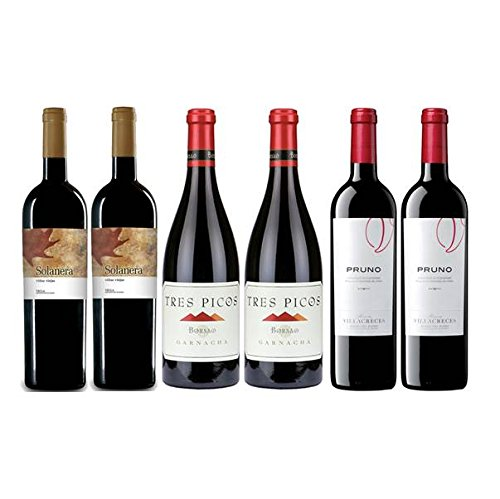 Pack Mejores Vinos Españoles Value según Parker 6 botellas. 2 de Borsao Tres Picos, 2 de Purno y 2 de Solanera