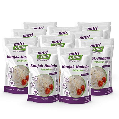 nutristyle Shirataki Konjak Nudeln, Fettucinne-Art, 10 x 270g (10x 200g ATG), Pasta-Alternative mit nur 6 kcal, ideal für eine kalorienarme Ernährung geeignet - Angebotspreis