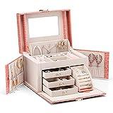Caja de joyas Vlando de piel sintética, organizador con espejo, almacenamiento para collar, anillo, caja para guardar, regalo de cumpleaños, regalo de boda, Rosa, Pink crocodilian pattern