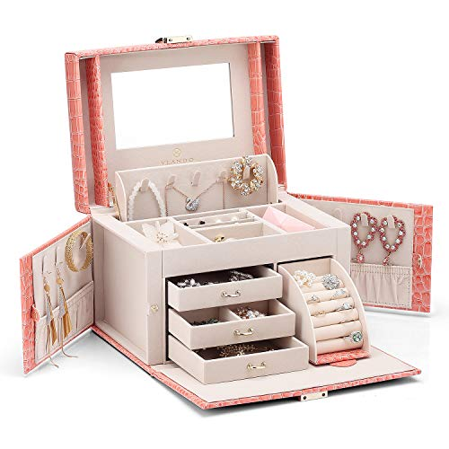 Vlando City Beauty Medium Jewelry Box, Faux Leather Jewelry Organizer - Pink