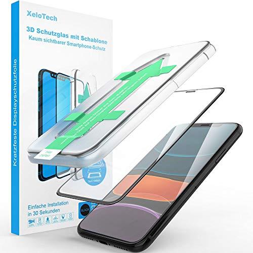XeloTech 3D/4D Schutzglas für iPhone 11 PRO MAX mit Schablone - Kompletter Vollglas Display-Schutz - Hochwertige Glasfolie mit Randschutz