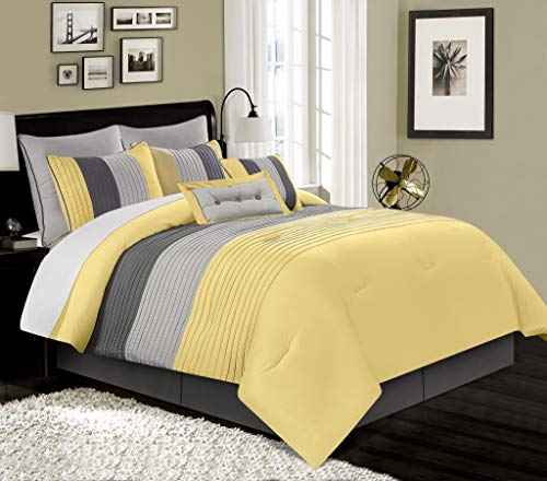Chezmoi Collection 6-Piece Luxury Striped Comforter Set (Twin, Yellow/Gray/Paloma)
