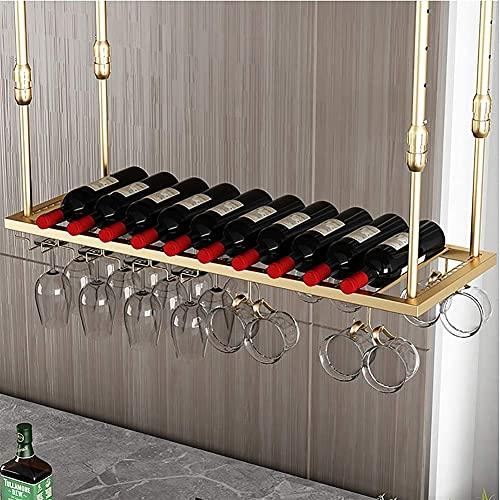 SBTXHJWCGLD Estante Colgante para Copas de Vino Soporte para Botellas de Vino Decoración Copas Loft Estante para Copas para Bares Cocina (Color: Dorado, Tamaño: 100 * 30 cm)