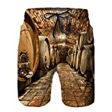 Benle Pantalons de Plage pour Hommes,Portes intérieures de Cave à vin,Maillot de Bain doublé en Filet à séchage Rapide XL