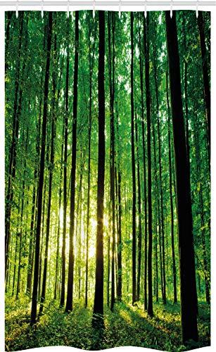ABAKUHAUS Wald Schmaler Duschvorhang, Grüner Waldland-Sonnenaufgang, Badezimmer Deko Set aus Stoff mit Haken, 120 x 180 cm, Gelb Schwarz Grün