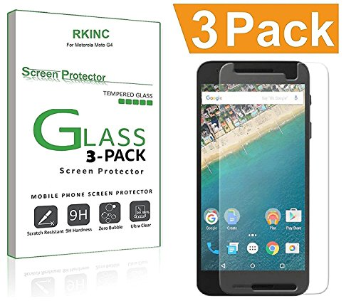 for Google Nexus 6P Screen Protector, [3 Pack] RKINC Tempered Glass Screen Protector for Motorola Google Nexus 6P with [9H Hardness] [Crystal Clear] [Scratch Resist]