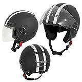 Die Nr. 1 auf Amazon - A-Pro Motorradhelm Motorrad Roller Offenes Jet Helm Viser ECE 22 05 Matt Schwarz L
