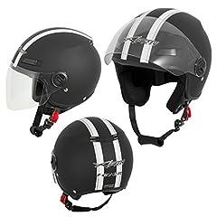 A-Pro Casque de moto Moto Roller Jet Casque ouvert Viser ECE 22 05 Matt Noir M