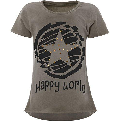 BEZLIT Stern-Print Mädchen Kinder T-Shirt Kunst-Perlen Kurzarm Shirt 22158 Grau Größe 164