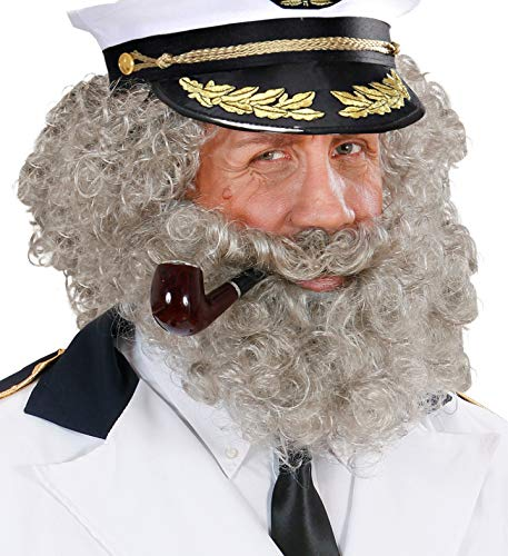 shoperama 4-teiliges Zubehör Set Kapitän Perücke Bart Mütze Pfeife Seemann Seebär Matrose Sailor Marine