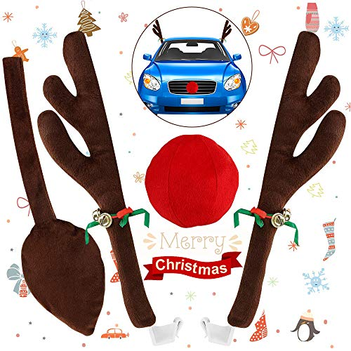 YQHbe Rentier Auto Rudolf für Weihnachts Auto,AutokostüM Reindeer Auto Weihnachtsdeko Rentiergeweih KostüM 2 Stück 45Cm Rentiergeweihe Und Braunes Heck Und1 Stück Rote Nase FüR Truck Van SUV