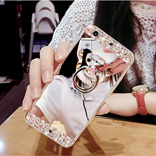 LIUYAWEI Crystal Phone Case For iPhone 12 11 Pro Max Diamond Luxury Cover For iPhone 7 8 6 Plus Rhinestone Mirror For iPhone XS XR Xs Max,Silver,For iphone 7plus