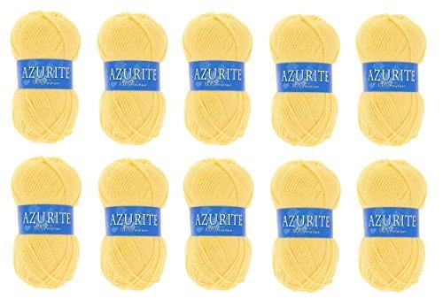 les colis noirs lcn Lot 10 Pelotes de Laine Azurite 100% Acrylique Tricot Crochet Tricoter - Jaune - 030
