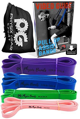 Physix Gear Sport Fitness Elastic Band, Las Mejores Bandas de Resistencia para Fortalecer los músculos, Bandas elásticas para el Entrenamiento de Fuerza con Bolsa de Transporte y guía en vídeo