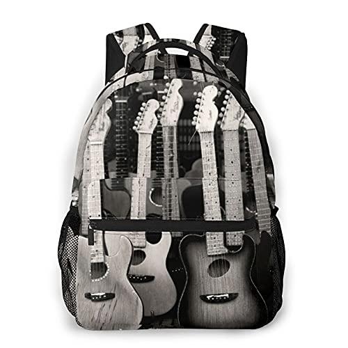 MTevocon Rucksack für Teens Herren Damen Aufbewahrungspaket,Schwarzgraue Spielzeuggitarre, Business Casual Schultasche Reise-Laptop-Tagesrucksack