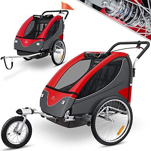 KESSER® Cruiser Kinderanhänger Fahrradanhänger 360° Drehbar mit Federung 2in1 Joggerfunktion Kinderfahrradanhänger + 5-Punkt Sicherheitsgurt, Jogger fahrrad Anhänger für 1 bis 2 Kinder max. 40kg Rot