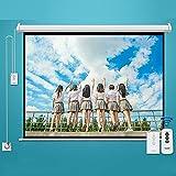 FASZFSAF Pantalla ProyeccióN Proyector Motorizado EléCtrico Full HD, VersióN Mejorada Material Fibra Vidrio Blanca, Plegable HD Cine Casa Soporte Interior Exterior,Blanco,150 Pulgadas * 16: 9