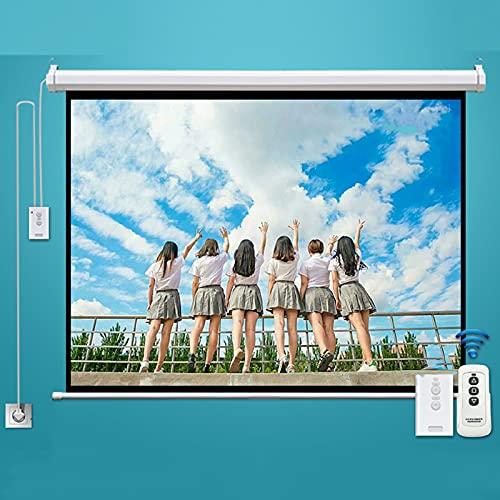 FASZFSAF Pantalla ProyeccióN Proyector Motorizado EléCtrico Full HD, VersióN Mejorada Material Fibra Vidrio Blanca, Plegable HD Cine Casa Soporte Interior Exterior,Blanco,100 Pulgadas * 16:10