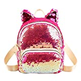Süße Pailletten Katzenohren Rucksäcke Frauen kleine Schultertasche Schultasche (rosa)