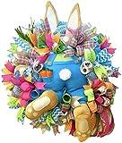YLXQPB Corona de conejo de Pascua decoración para puerta delantera, ladrón de Pascua con orejas, guirnalda en forma de conejo, decoración de pared, decoración de Pascua, 55 x 40 cm