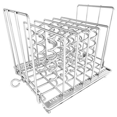 ETRONIK Sous Vide Rack,Estructura Plegable Ajustable Acero Inoxidable,EasStore Divisor Espiral Anti-Flotante Módulo Estructura,EasClean 7.5×7.5×6.5 Pulgadas (0.7 kg) Traje para Contenedores Sous Vide