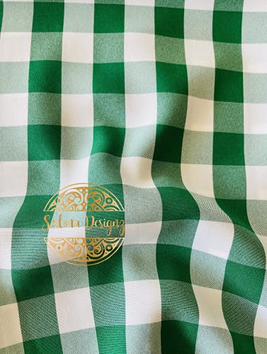 1' Checkered Gingham PolyPoplin Fabric by The Yard (Green and White)