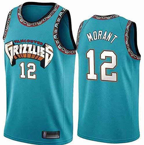 BMY Basketball Jersey NBA Grizzlies #12 Morant Retro Embroidery Jersey, Cool Breathable Fabric, Unisex Basketball Fan Sleeveless Sport Vest Top,XL:185cm/85~95kg