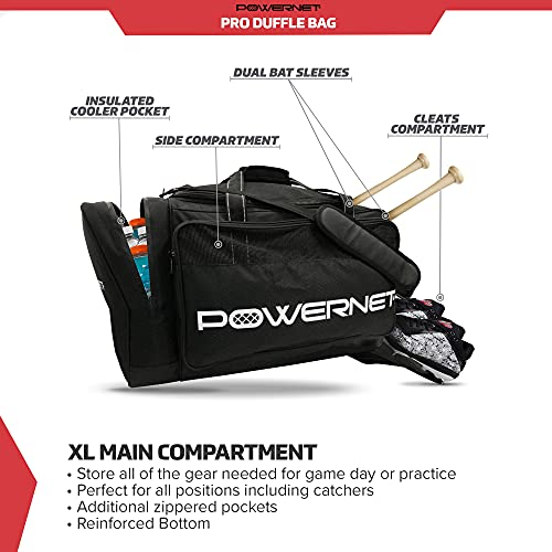 PowerNet Pro Duffle Bag | Baseball Softball Equipment Gear Dual Bat Carrier | Built-In Cooler Pocket | 2 Internal Bat Sleeves | Padded Shoulder Strap