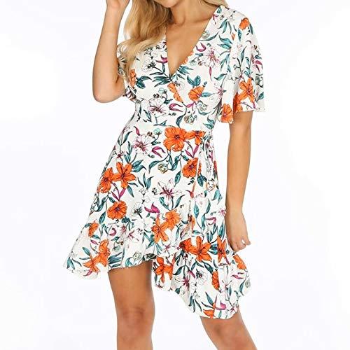 NVDKHXG Elegante Ruffle Wrap Jurk Dames Zomer Bloemenprint Feest Mini-jurken Vrouwelijke V-hals Korte mouw Boho Strand Casual Zonnejurk
