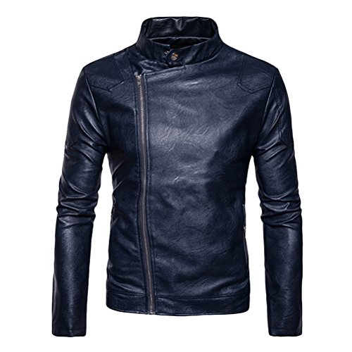 Zhuhaitf Mens Stand Collar Collar del Soporte PU Leather Jacket Slim Fit Long Sleeve Oblique Zipper Cremallera Stylish Casual Jacket para Autumn &